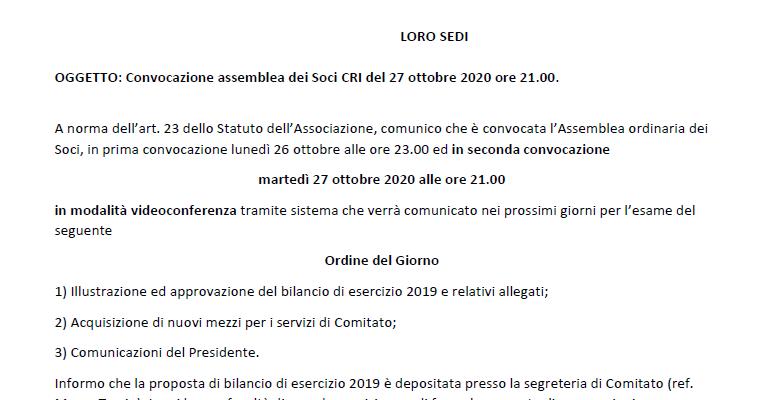 Convocazione Assemblea dei Soci – 27 Ottobre 2020